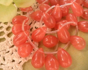 Briolette Beads, Tear Drop Bead, Supplies, Jewelry, Wire Wrap Bead, Salmon, Glass Bead, 15mmx10mm (6pcs)