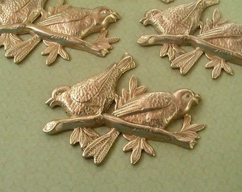 Birds on a Branch Raw Brass Stamping Brass Findings Collage, Jewelry Supplies Mixed Media (2pcs)