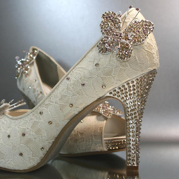 Gold High Heel Bridesmaid Name Champagne Party Wedding: Items Similar To Wedding Shoes -- Champagne Lace Peeptoes