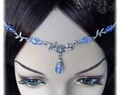 Light Sapphire Floral Crystal Renaissance Medieval Celtic Circlet Headpiece Headdress Wedding Bridal Prom