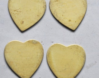 Four Brass Heart Shapes, Thick Brass with some natural discoloration