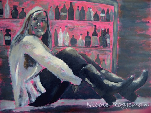 Studio clearance sale, Art SALE oil painting, Girl on bar, pink gray, who's that girl, canvas art, beautiful girl, curious, cowgirl boots