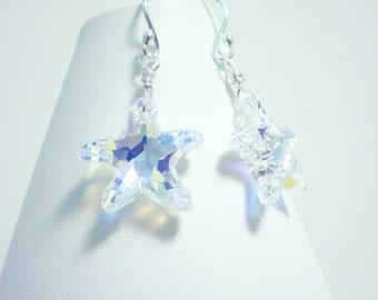Starfish Earrings / Dainty Crystal Earrings / Dangle Drop Earrings in Sterling Silver / Swarovski Starfish