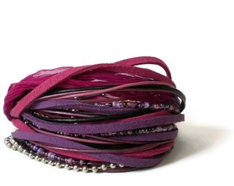 boho leather wrap bracelet, ribbon suede wrap, purple pink suede wrap bracelet, rocker cuff, triple wrap bracelet, gift for her
