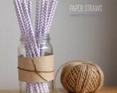 25 Lavender Purple and White Chevron Pattern Paper Straws -  Standard 7.75'' / 19.68cm