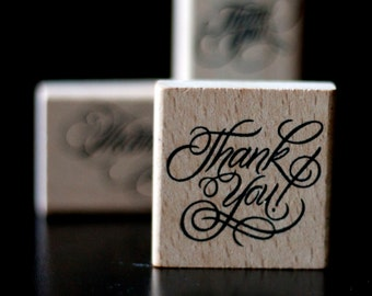 Thank You - Square Calligraphy Script Font Wooden Rubber Thank You Stamp  - Stamp House
