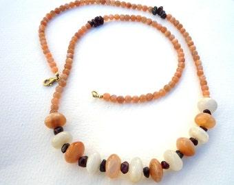 Gemstone Necklace, Peach Moonstone Necklace,Natural Stones, Moonstone and Garnet gemstones, Unique Gemstone Necklace,