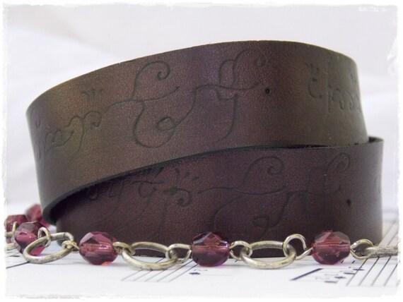 Plum Leather Wrap Bracelet, Elvish Script Cuff, Engraved Leather Bracelet, Elven Wrap Bracelet, LARP Leather Bracelet,  Movie Quote Cuff