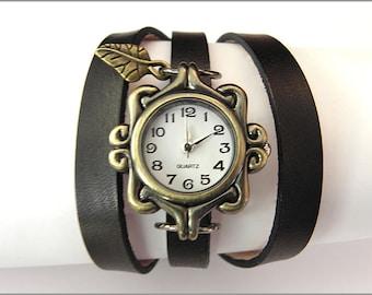 women wrist watch personalized handmade leather bracelet wrap bronze black