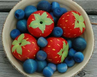 Pretend Fruit Fresh Picked Berries Wooden Toy Strawberries Blueberries