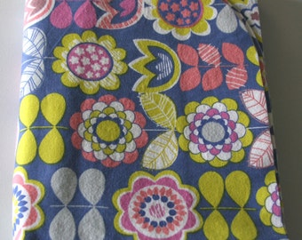 Girls Swaddle Blanket: Mod Flowers- Lavender, Pink & Yellow