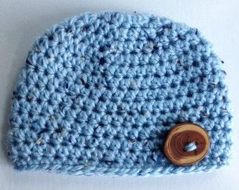 Light Blue Baby Boy Hat, Blue Tweed Baby Beanie with Wood Button, Crochet Baby Boy Hat, Baby Beanie, Newborn Beanie, Baby Photo Prop
