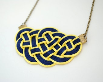 Big Sailor's Knot Nautical Necklace in Yellow and Navy Satin Cords, Winter Spring Trends, Rattail, Macrame, Woven, Rope Jewelry, Nautical