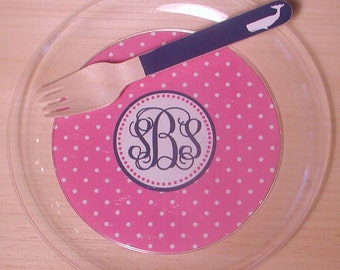 Monogram Polka Dot Plates - Choose from 72 colors - Set of 12