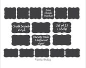 Chalkboard Vinyl Labels - 25 labels - variety, mix of sizes,FREE CHALK MARKER- great for: Pantry, Canisters, Bins, Glasses, Jars