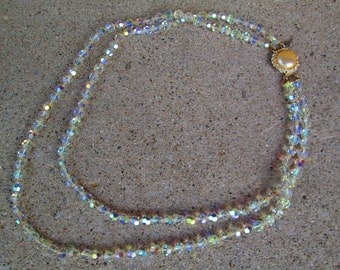 1950s or 1960s Vintage Double Strand Faceted Glass Crystal Beaded Necklace