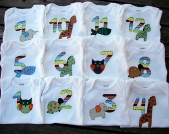 Monthly Onesies - Custom-made and HAND-SEWN - a TRULY unique gift