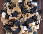 Natural Jute BURLAP and BLACK WREATH