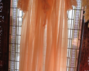 Sale  1920s TWENTIES Sheer Cotton Peach VOILE EMBROIDERED Peignoir