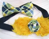 Sibling set - Navy, yellow and green plaid shabby headband and bowtie for brother sisters cousins friends, wedding, Jack and Jill