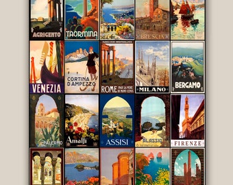 Travel posters collection trip to Italy 11x14 Print Vintage illustrations posters Wall art decor,home decor,  decorative arts, wall hangings