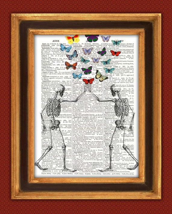High five Human Skeleton Print, skeleton butterflies vintage illustrations Dictionary  Print  wall decor mixed media collage wall decor