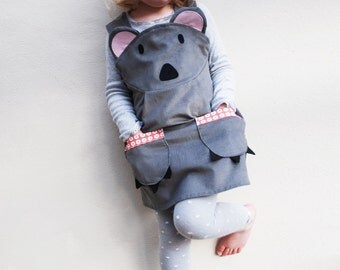 Koala bear girls dress baby costume handmade  in grey cord
