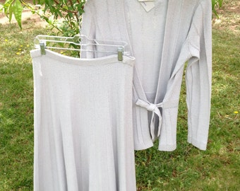 Light Bluish Grey Adolfo 2 piece Long Sleeve Wrap Tie Sweater Skirt with Pleats AS IS