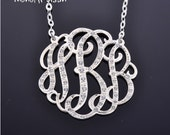 "Diamond Monogram necklace - Diamond initial necklace 1"" Silver necklace"