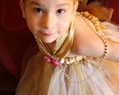Vienna swirl-vintage ivory,shimmering gold flower girl, wedding  tutu/ tulle Dress perfect for  fall,winter and Christmas occasions