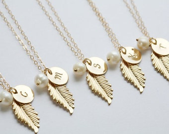 Set of 5,Gold Feather 14k Gold Filled Necklace,Personalized,Monogram Necklace,Wedding Jewelry,Bridal