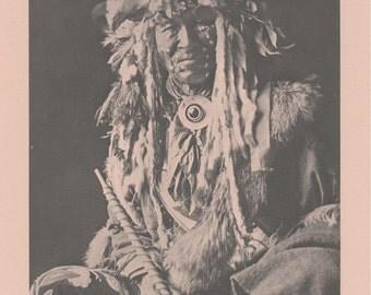 Vintage 1890 - 1910 Chippewa Portraits Native American Indian Print Plate B