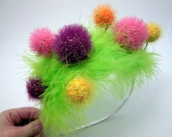 Truffula Tree Fascinator - Lorax Inspired Headband - Dr Suess Style Whimsical Modern Birthday Hat - photo prop