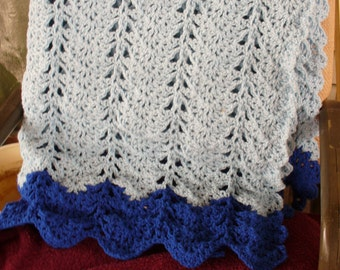 Crocheted Blue Afghan