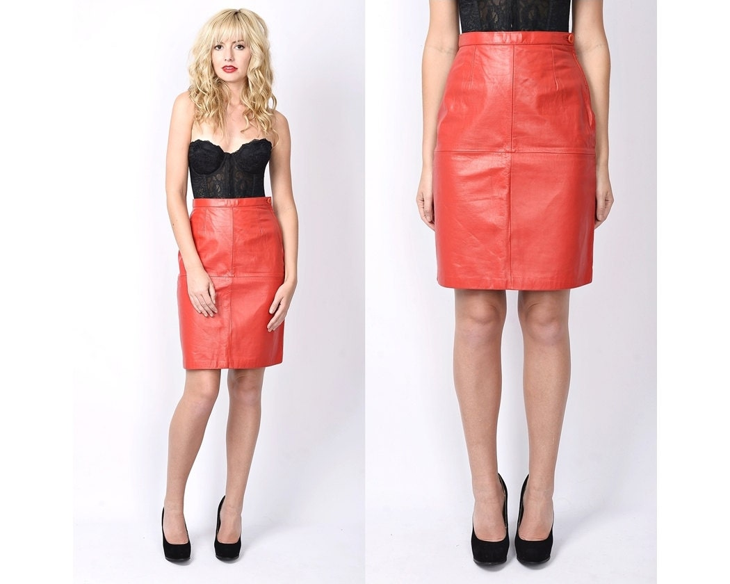 vintage 80s leather moto skirt high waist by