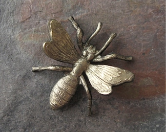 Brass Dimensional Bee Stamping 26mm New Hand Oxidized (1)