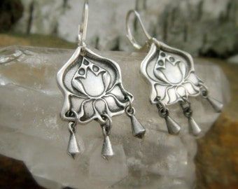 Lotus Earrings- Handcrafted with Recyled Fine Silver
