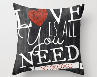Love is All You Need.  Valentine's Day Typography Throw Pillow Product Sizes and Pricing via Dropdown Menu