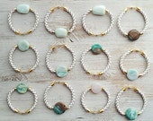 Reserved  for Baramykino: Beautiful teal and milk agate on Leather Cord Bracelet by pardes israel