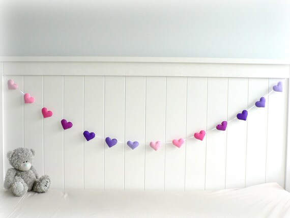 Heart banner/ garland/ bunting - Pink and purple felt - kids - home decor - MADE TO ORDER