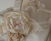 Wedding Basket - Satin Covered Flowergirl's Basket - Cream and Antique Creams, Vintage Style, Vintage Glam, Vintage Style Wedding