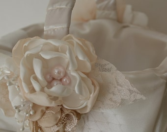 Flower Girl's Basket - Cream and Antique Creams, Champagne, Handmade Flowers, Wedding Party Accessories, Vintage Style, Vintage Glam