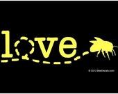 Window Decal - Honey Bee Car Window Decal - Honey Bee Love Window Decal - Car Sticker - Beekeeper Bumper Sticker - We love bees