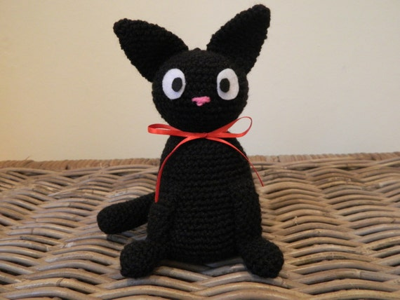 Jiji plush amigurumi inspired by the black kitty cat from Kiki's Delivery Service by Studio Ghibli plushie stuffie