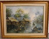 Vintage Wood Framed Oil on Canvas Impressionist Boat/River Painting  (SIGNED)
