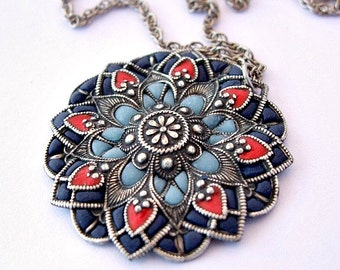 Mandala necklace, blue silver pendant handcrafted necklaces, Victorian  jewelry style, handmade