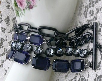 chain and rhinestone gothic bracelet