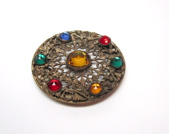 Victorian Revival Belt Buckle Brooch Pin Necklace Gold Ornate Round Faceted Stunning OAK Gift