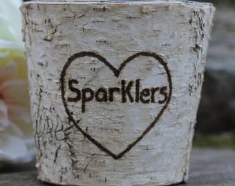 Rustic Birch Bark Wedding Sparklers Pot Basket
