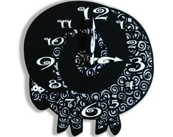Black Grey Goat Wall Clock Animal